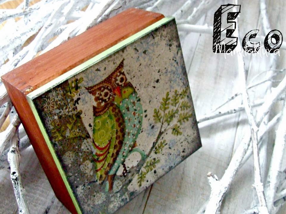 serwetka z sową decoupage na pudełku by Eco Manufaktura
