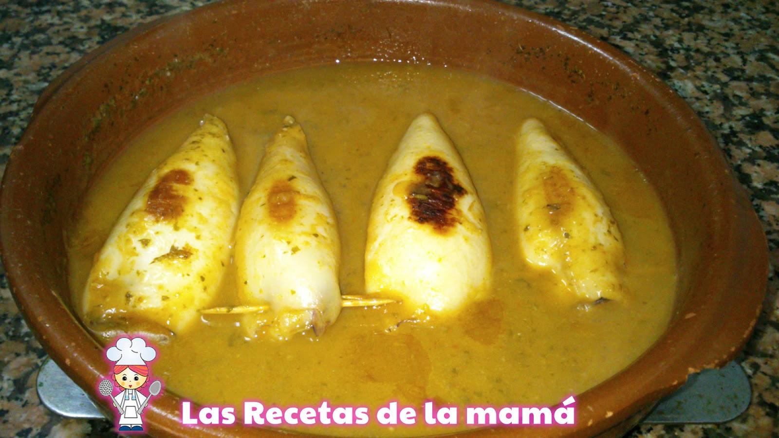 Las recetas de la mam receta de calamares rellenos en salsa - Salsa para calamares rellenos ...
