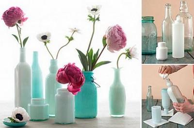 hacer floreros con botellas y frascos de vidrio