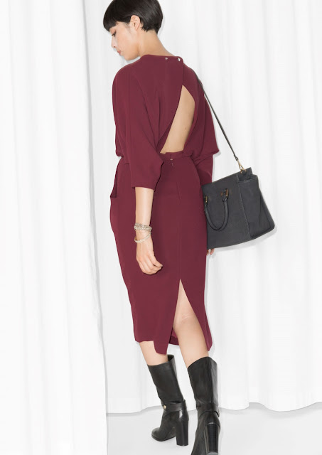 burgundy midi dress,
