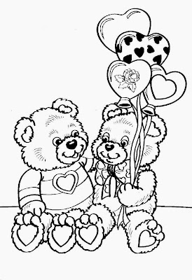 Valentine's Day Teddy Bear Coloring Pages