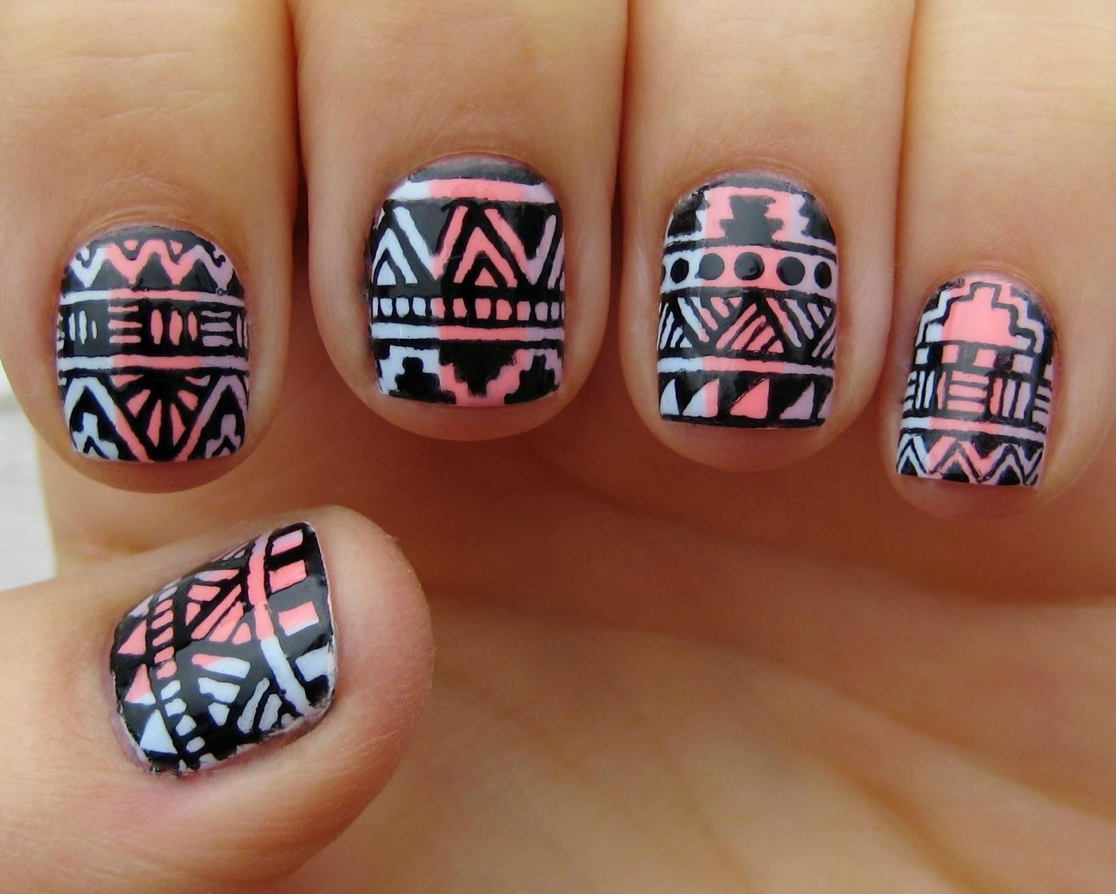 festival aztec nail art