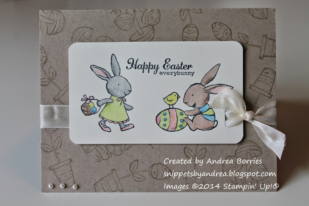 "Kraft card stamped with mushrooms and flowers with Easter egg blooms. Focal layer stamped with two bunnies and ""Happy Easter everybunny"" greeting."