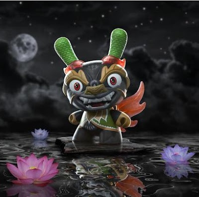 "Imperial Lotus Dragon 8"" Dunny Alternate Black Colorway by Scott Tolleson x Kidrobot"