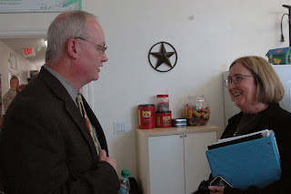 Willis Chief James Nowak discusses safety planning with New Danville Manager Karyn Grace.