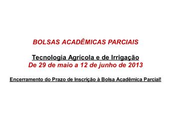 AVISO: Curso em Tecnologia Agrícola e Irrigação