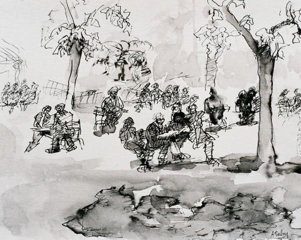 Les joueurs d'échecs du Jardin du Luxembourg. Encre de Chine, plume et lavis 31cm x 25 cm © Anne Malvy