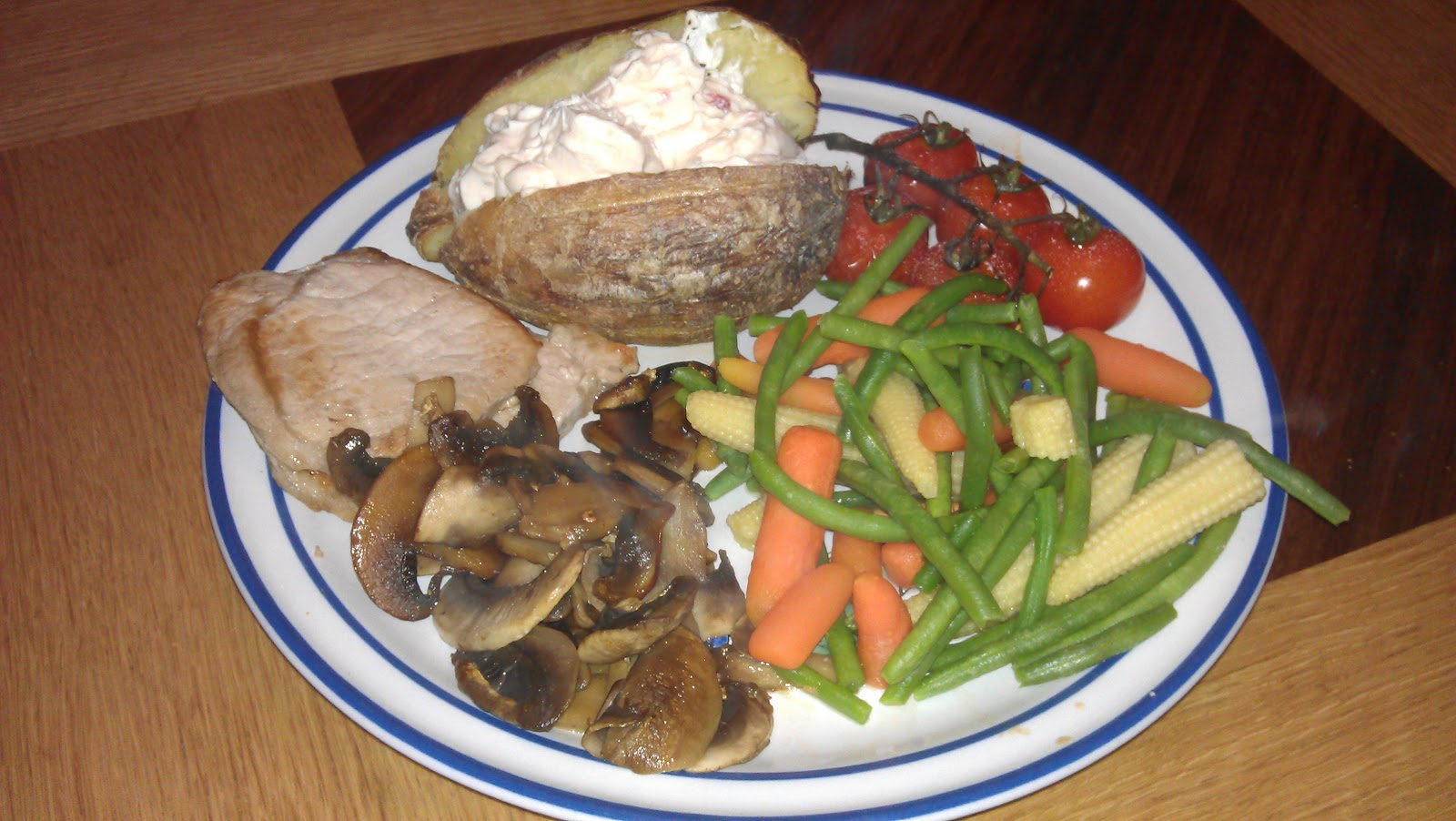 Flab 2 fab pork with jacket potato philidelphia and for Jacket potato fillings mushroom