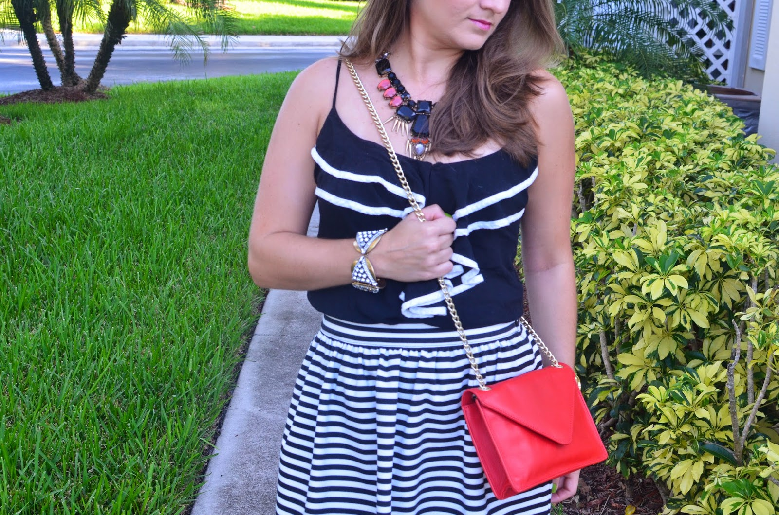 Strippes - Ruffles - envelope clutch - Emma & Sophia - statement necklace