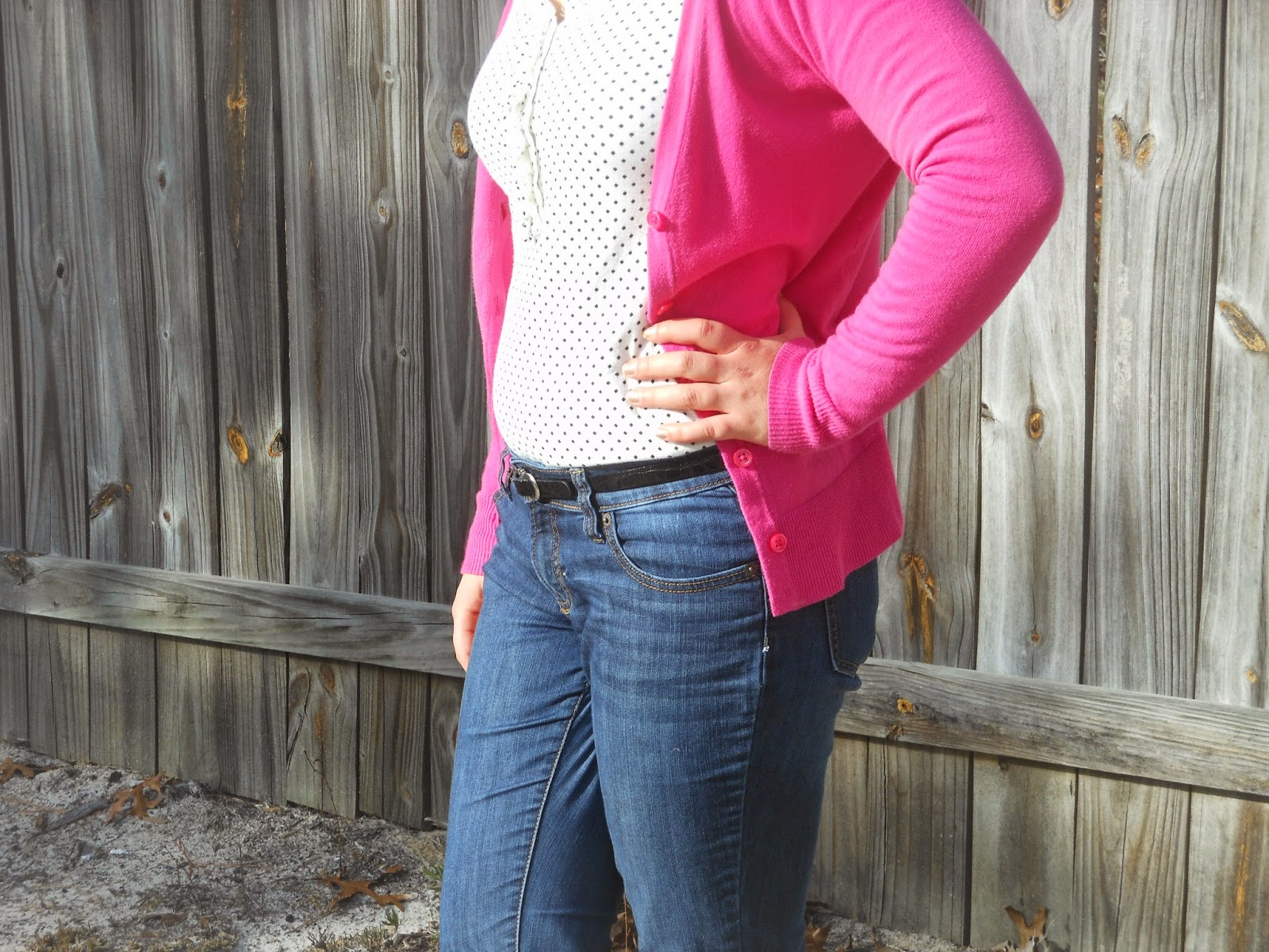 Valentine's Week Day 1: Classic Pink + 14 Days of Love Day 2. Polka dot top, jeans, pink cardigan, black belt, simple jewelry.