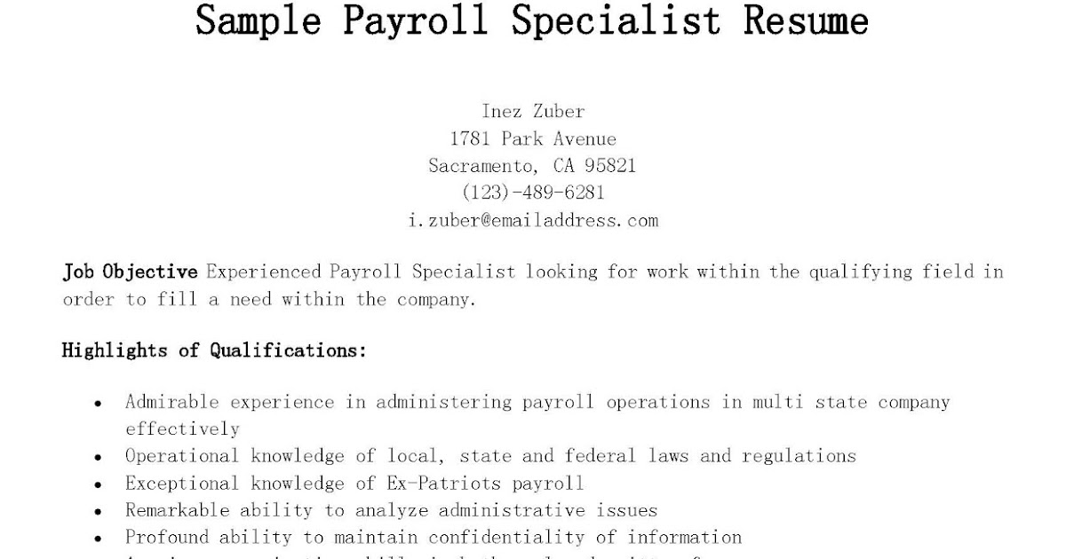 Payroll Specialist Resume Payroll Clerk Job Description School