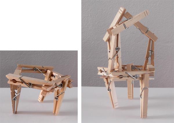 clothspins, house, building, 3d art, kids, crafts,