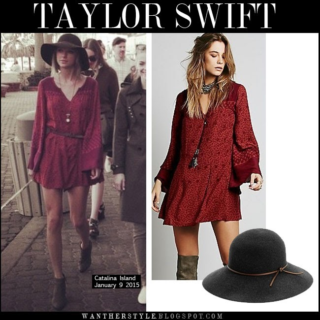 WHAT SHE WORE Taylor Swift in red printed bell sleeves mini dress