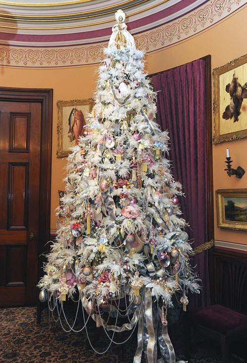 A christmas tree decorated in the style of maire antoinette