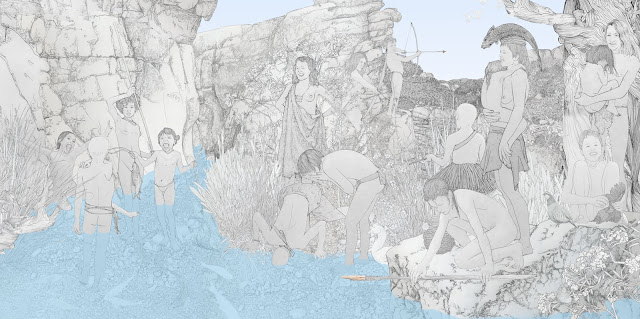 caza y pesca menor, grupo humano, mujeres,  prehistoria, dibujo