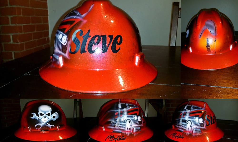 Custom painted red trucker hard hat