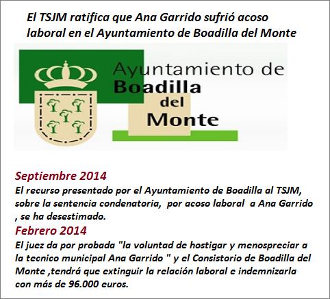 MobbingMadrid El TSJM ratifica que Ana Garrido sufrío acoso laboral en el Ayuntamiento de Boadilla del Monte