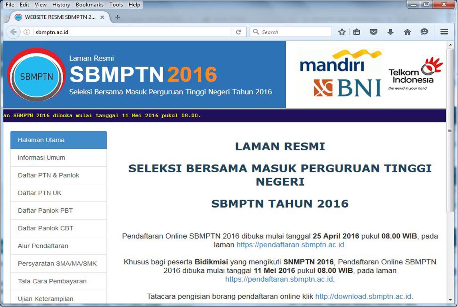 PENDAFTARAN SBMPTN 2016