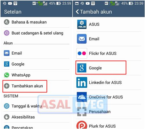 mendaftar gmail di android