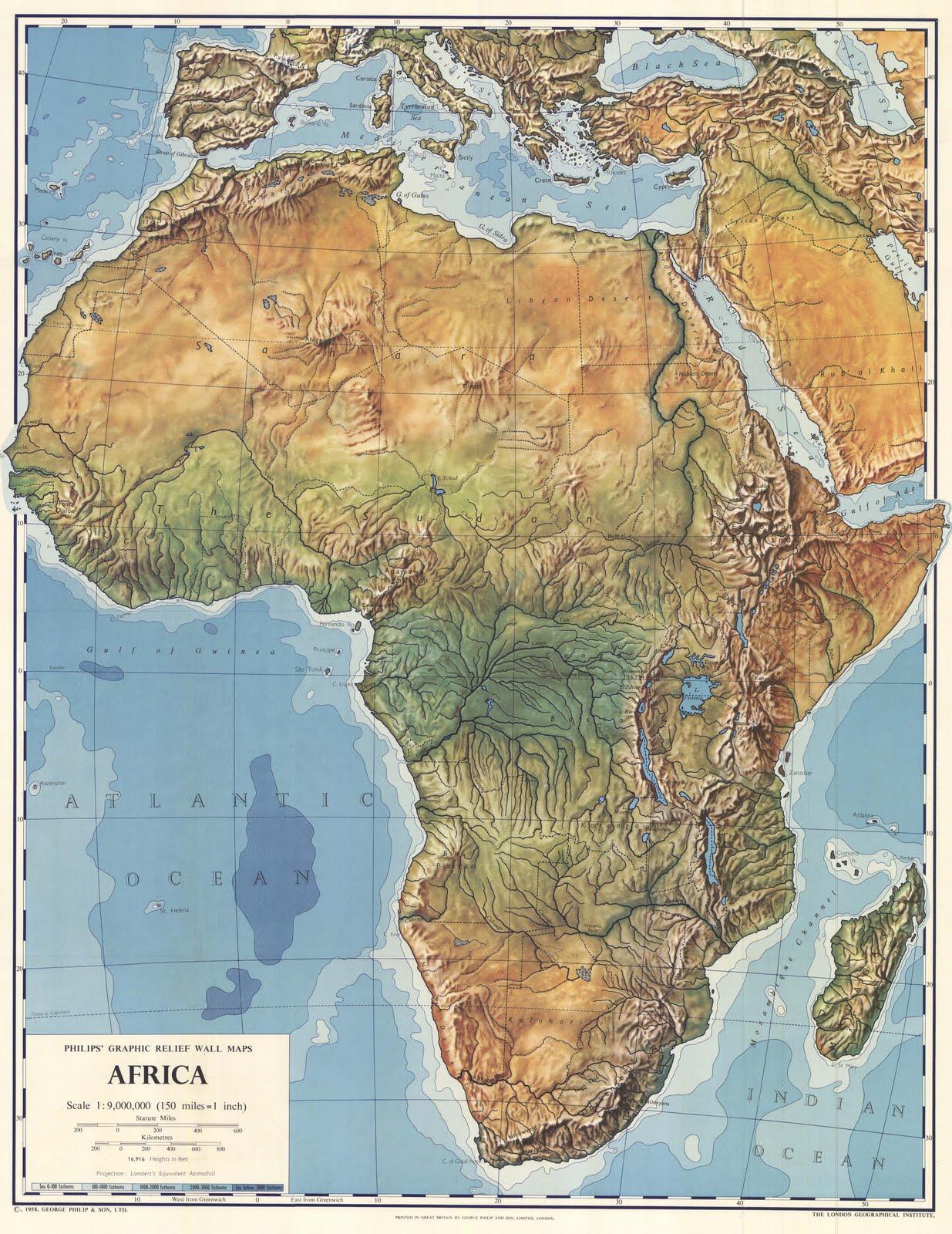 Mapa de África en 1958 (en inglés)