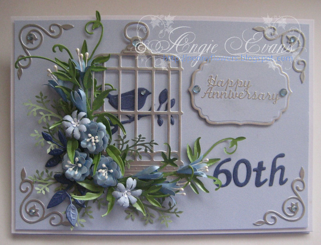 PENNY FLOWERS 60th Wedding Anniversary card