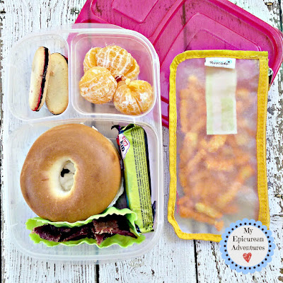 My Epicurean Adventures: Lunch Box Fun 2015-16: Week #17-18. Lunch box ideas, school lunch ideas, lunches, bagel sandwich
