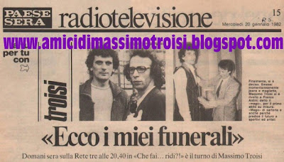 Massimo Troisi Roberto Benigni Morto Troisi Viva Troisi