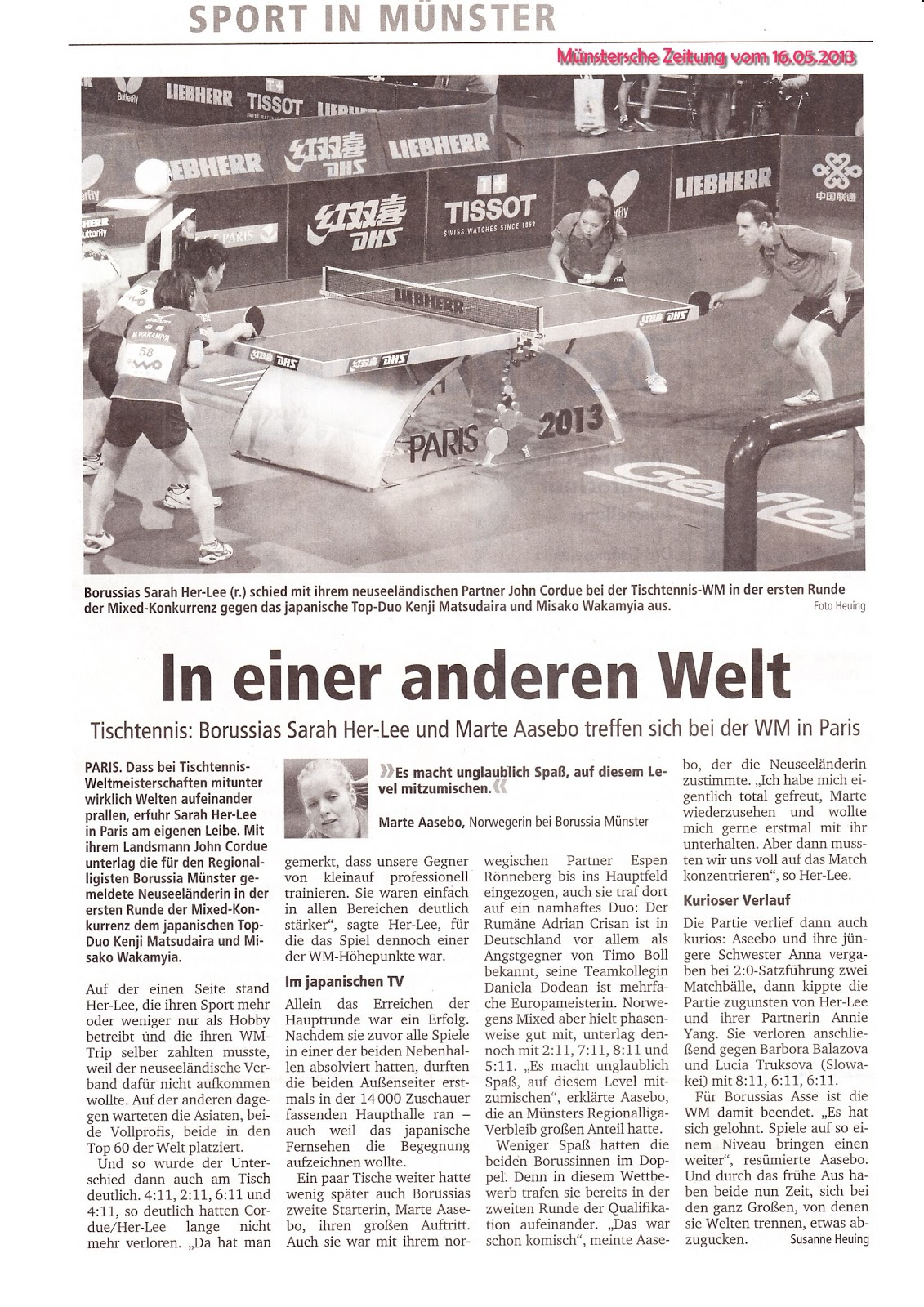 News paper article from munster germany about my competition in paris