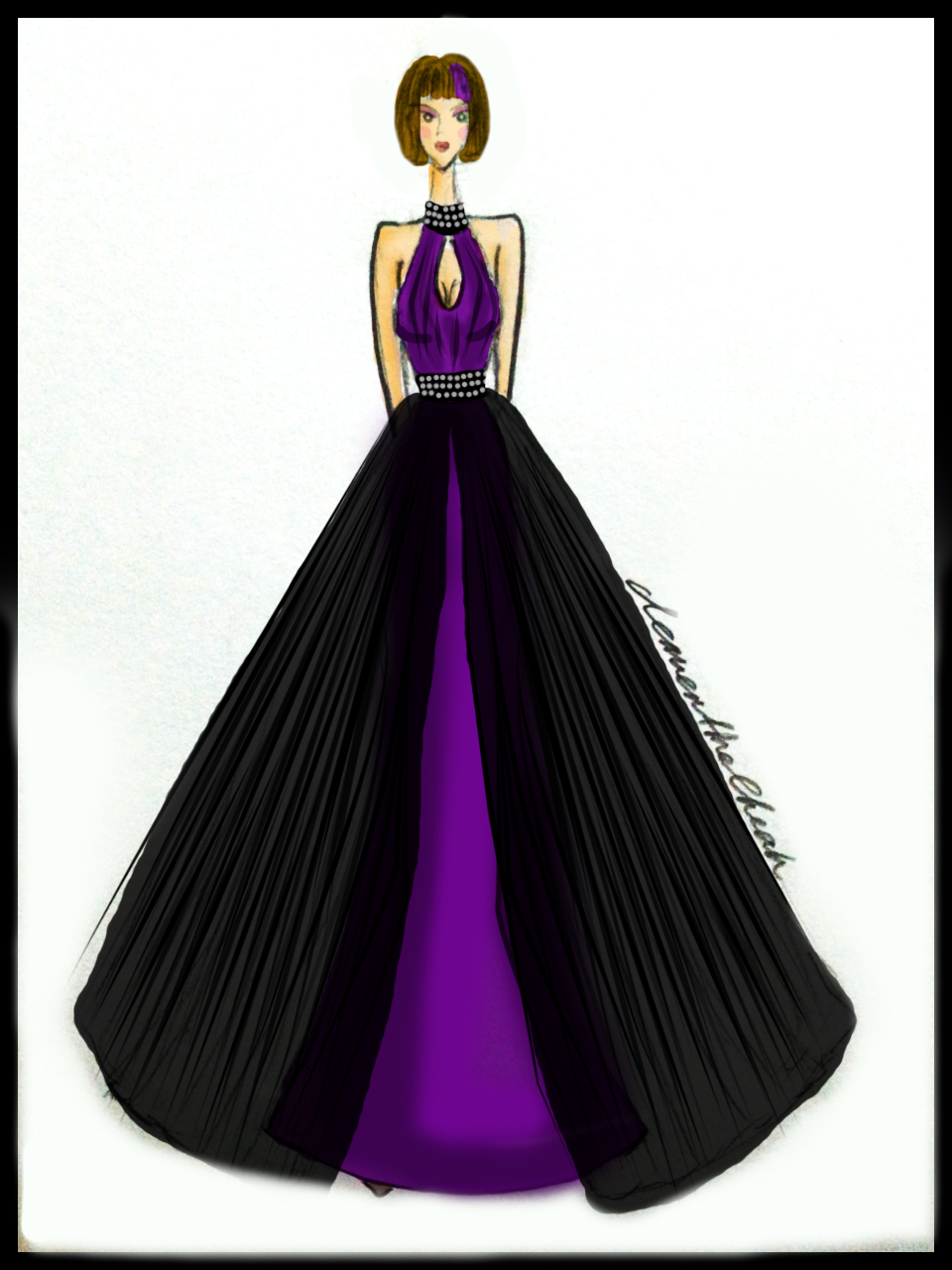Clementine Cheah Fashion Illustration Purple Ball Gown