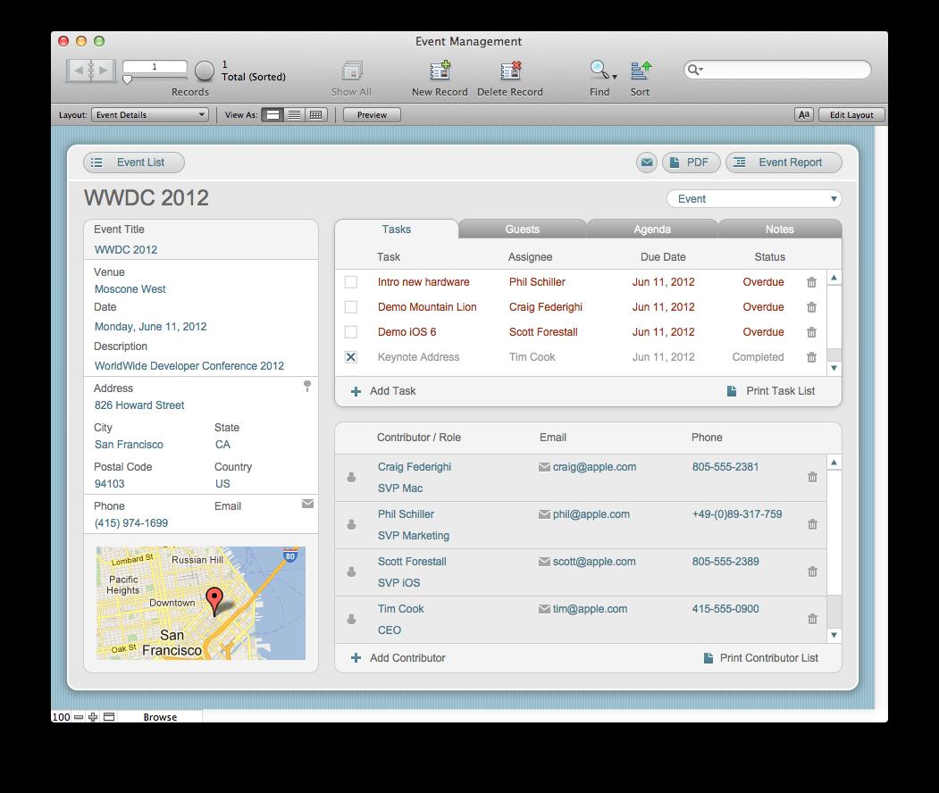 The Mac Office Event Management FileMaker Pro Starter Solution - Filemaker pro templates