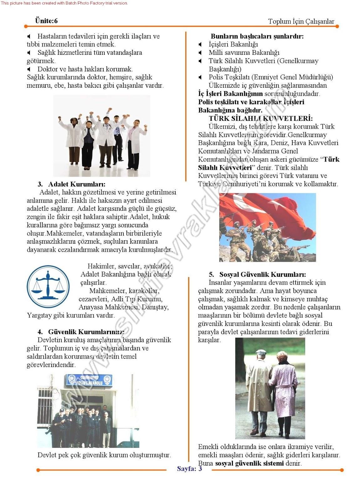 Sınıf sosyal bilgiler 6 ünite toplum için çalışanlar konu