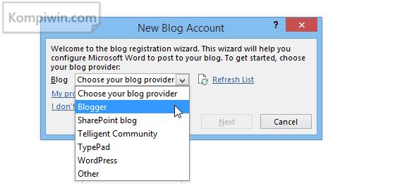 Blogger: Cara Menulis dan Menerbitkan Postingan Blog di Microsoft Word 4