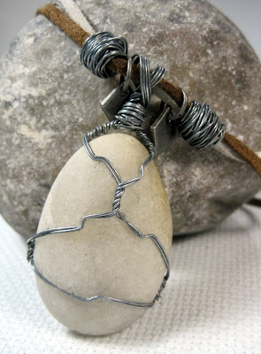 Steel Wire Wrapped Stone Pendant