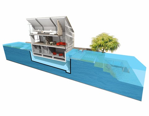 In the event of a flood, the amphibious house floats