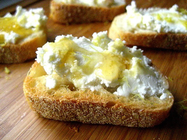 Stacey Snacks: Crostini w/ Ricotta, Honey & Lemon Zest