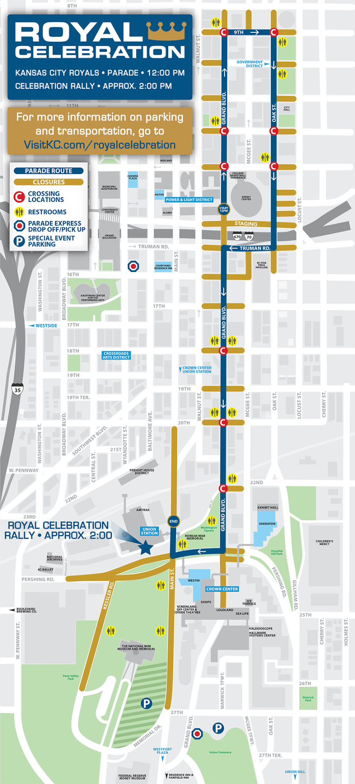 Kansas Transportation Royals Celebration Schedule and Map