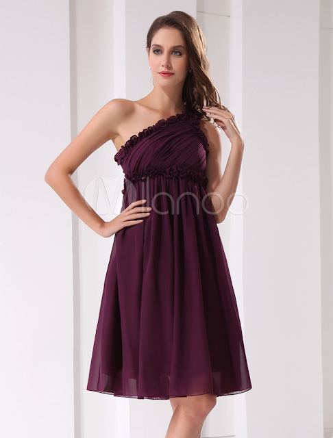China Wholesale Clothes - One Shoulder Chiffon Beaded Short Length Prom Homecoming Dress