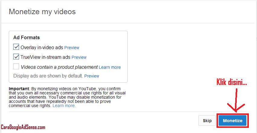 monetize video youtube adsense