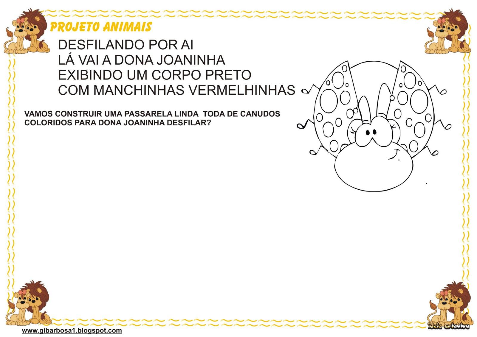 Atividade Maternal Projeto Animais Versos Da Joaninha ~ Mini Maternal Maternal Jardim