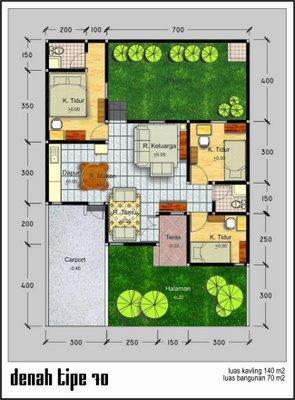 Desain Denah Rumah Minimalis 1 Lantai Type 70