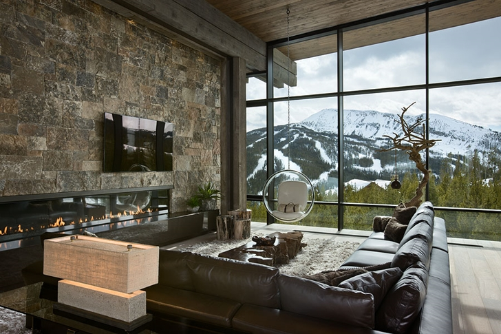 Modern living room in Elegant Mountain Home by Reid Smith Architects