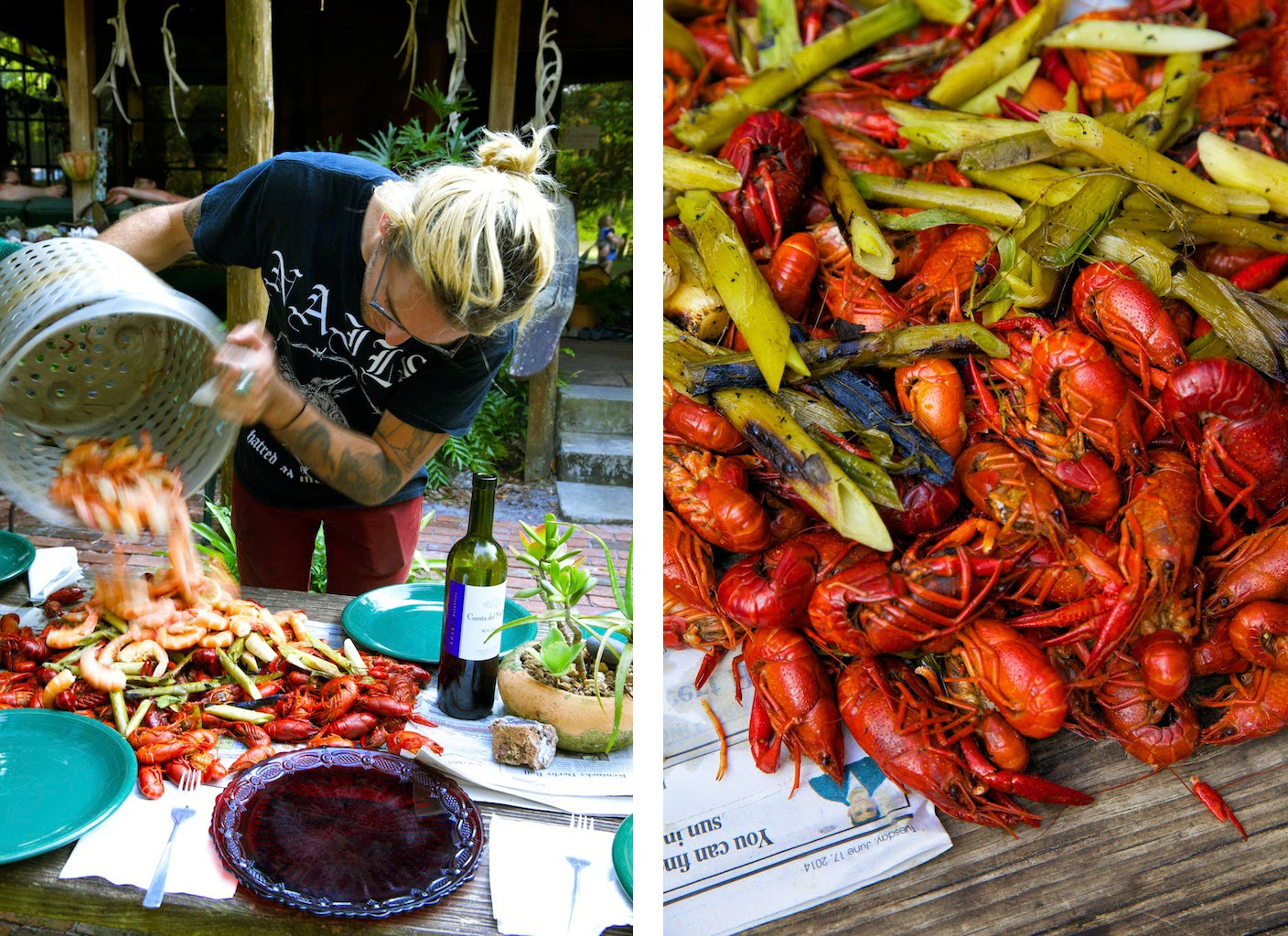 Alex Phaneuf cooks crawfish and shrimp in North Florida