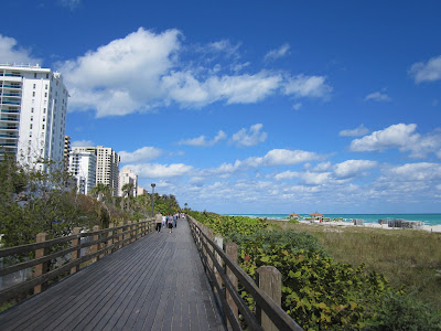the boardwalk in Miami Beach is a great place to people watch and admire the hotels and resorts