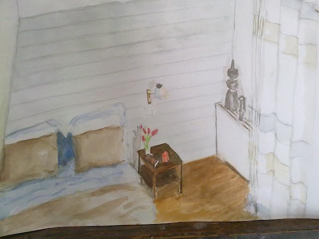diseño de habitacion en acuarela