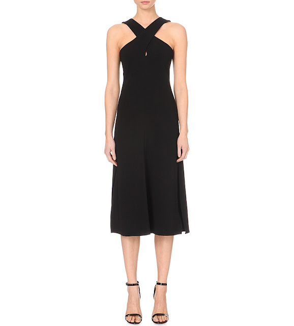 theory black midi dress, theory mambert dress, black cross neck dress,