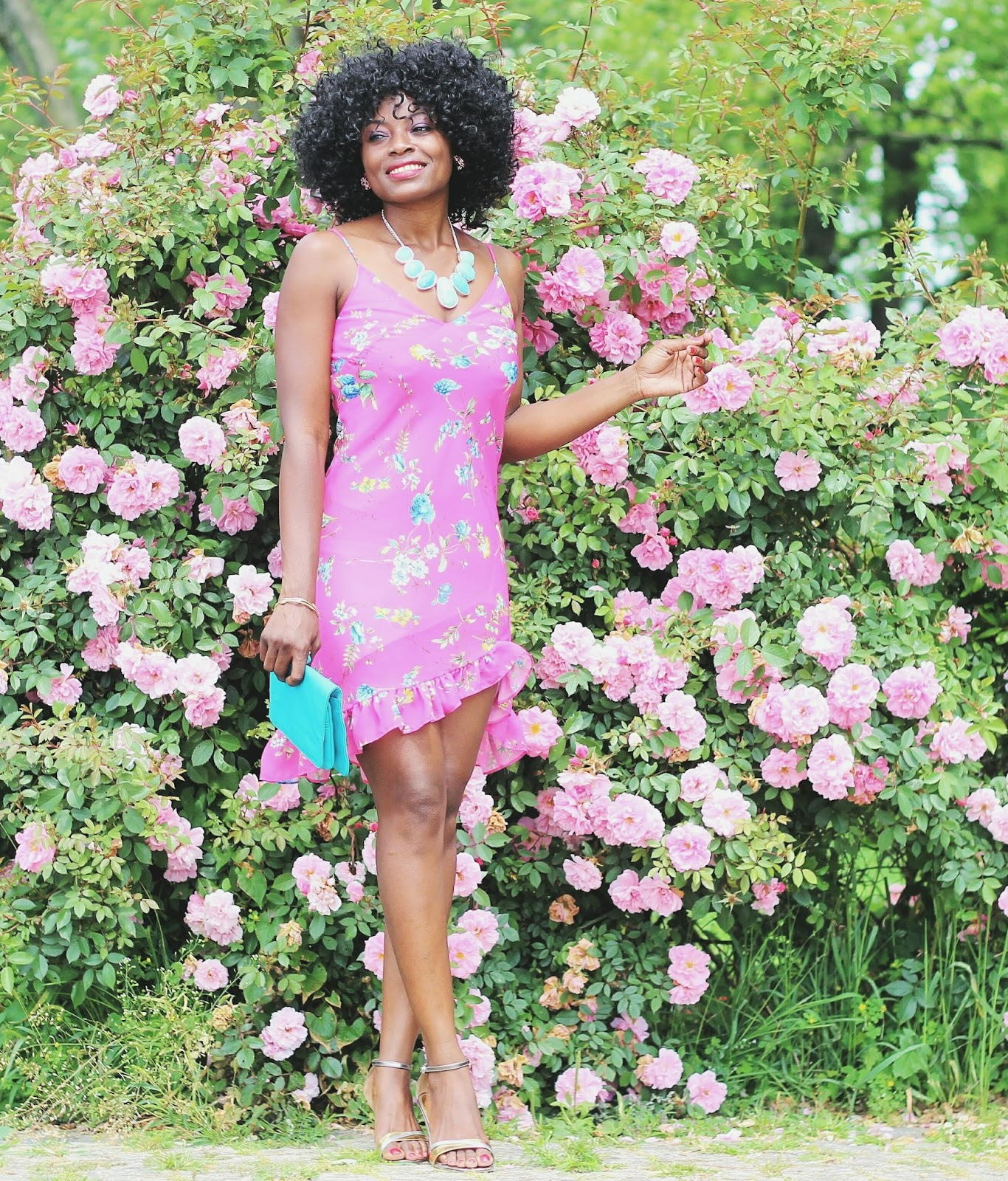 High-low Hemline Floral Print Dressx Victoria Tilloston Brass Thorn Bracelet