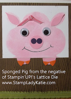 Punch Art Pig made with Stampin'UP!'s Lattice Die
