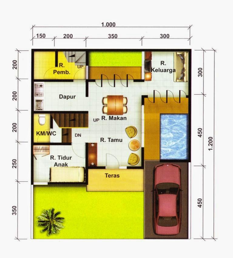 denah rumah type 70 120 lantai 1