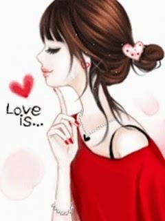 Gambar Kartun Cewek Cantik Korea Animasi Bergerak Imut Ucapan Love