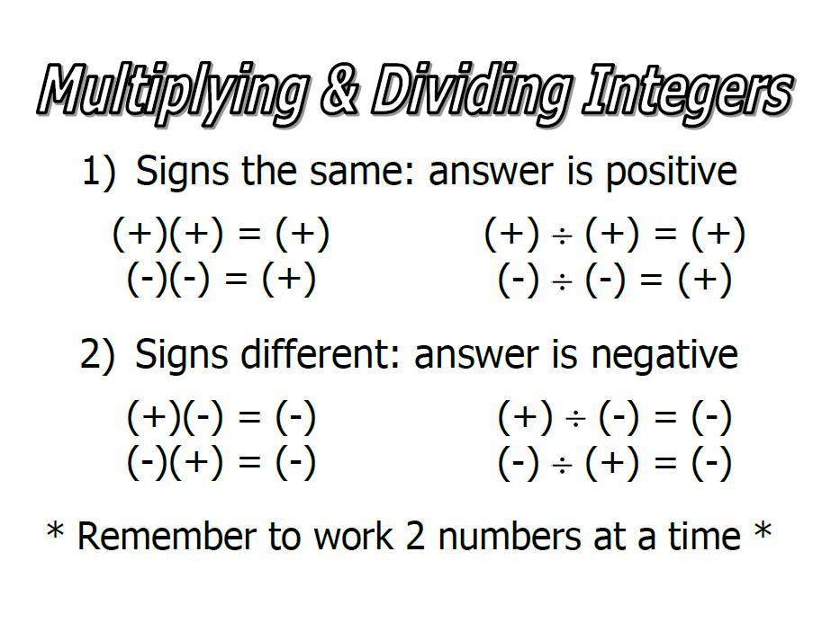 Multiplying And Dividing Integers Lessons TES Teach – Multiplication and Division of Integers Worksheets